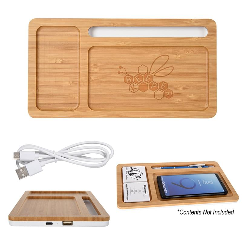 Bamboo Wireless Charging Pad Desktop Organizer