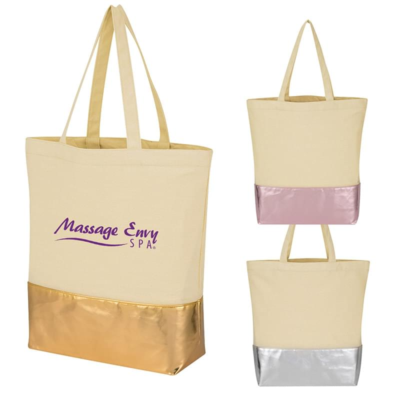 12 Oz. Cotton Tote Bag With Metallic Accent