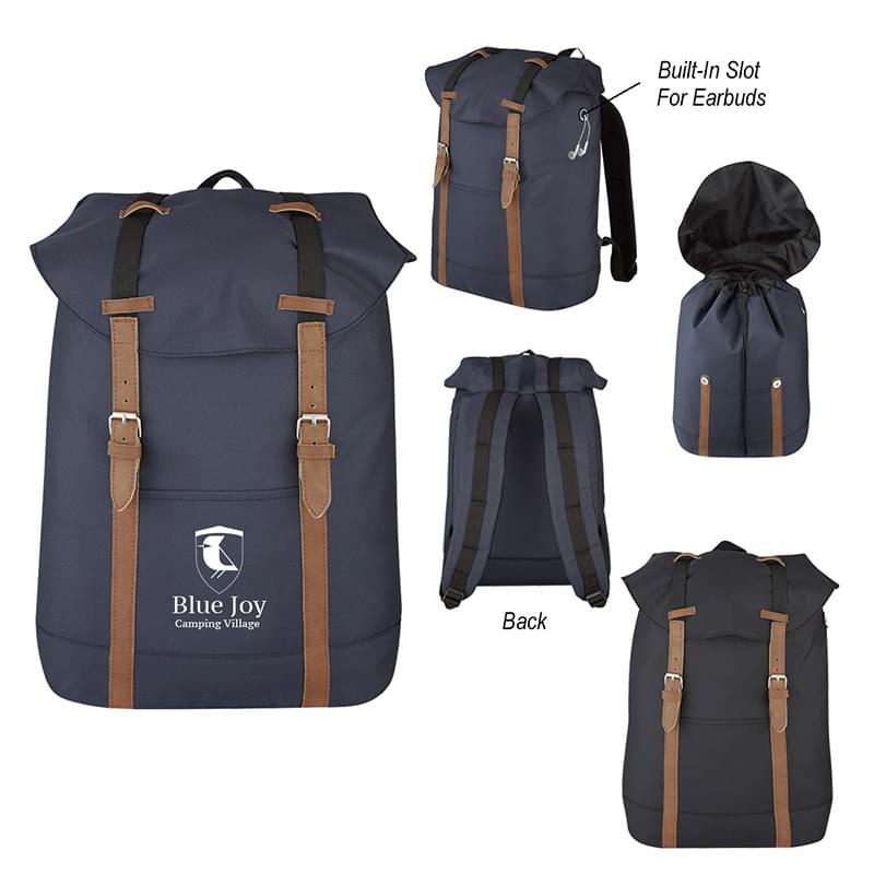 Flap Drawstring Backpack