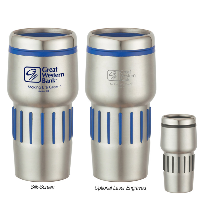 16 Oz. Stainless Steel Tumbler With Rubber Grips