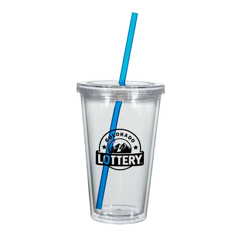 16 Oz. Double Wall Acrylic Tumbler With Straw