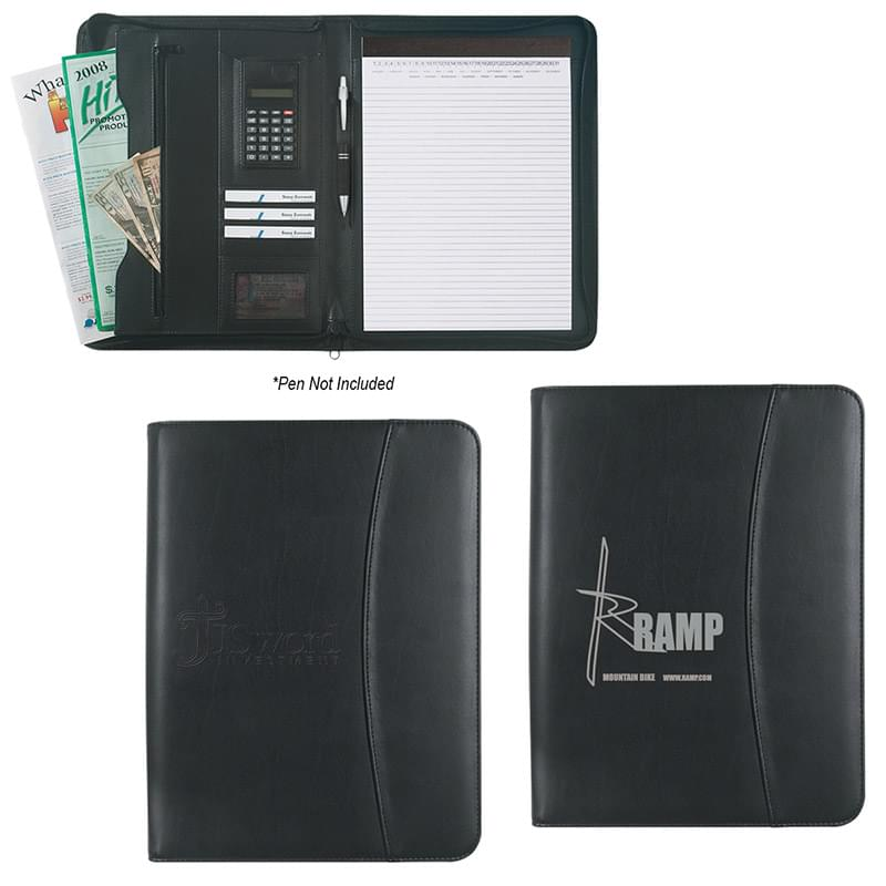 "Leather Look 8 ½"" x 11"" Zippered Portfolio With Calculator"