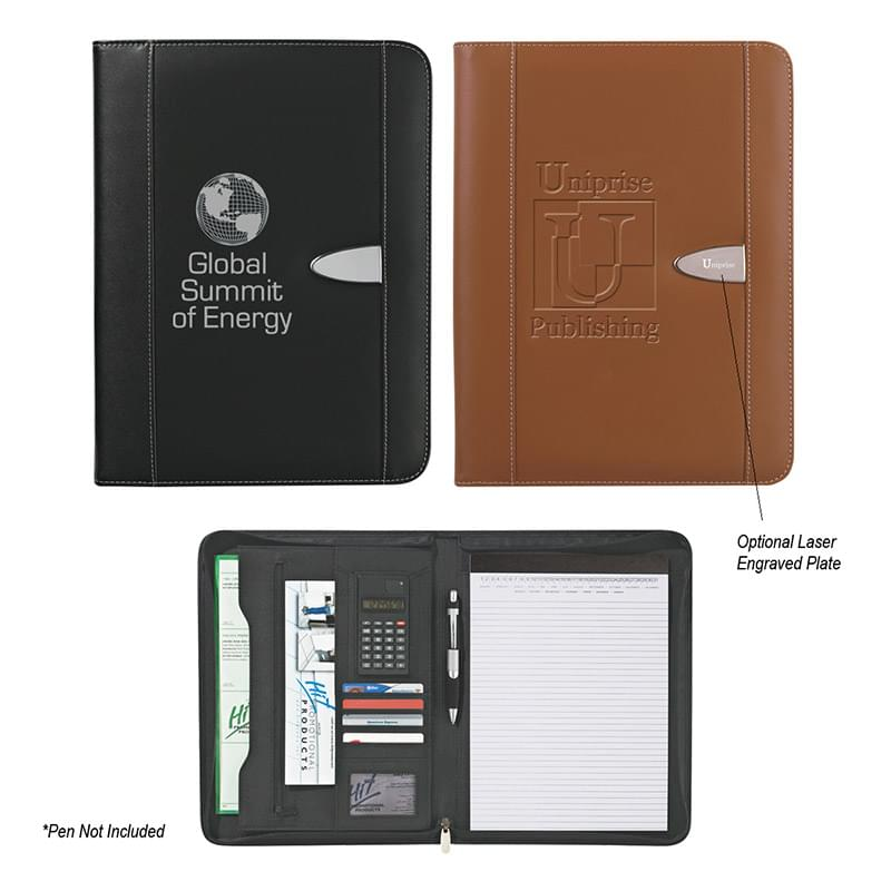 "Eclipse Bonded Leather 8 ½"" x 11"" Zippered Portfolio With Calculator"