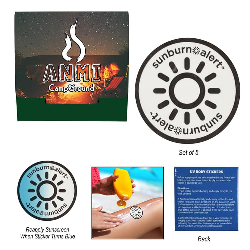 5-Pack Sunburn Alert Circle Stickers With Custom Pack