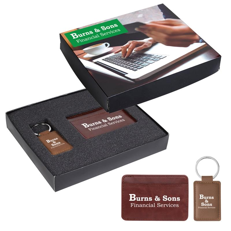RFID Card Holder And Leatherette Key Tag Gift Set