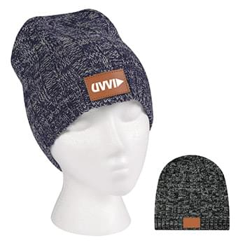 Knit Beanie With Leather Tag