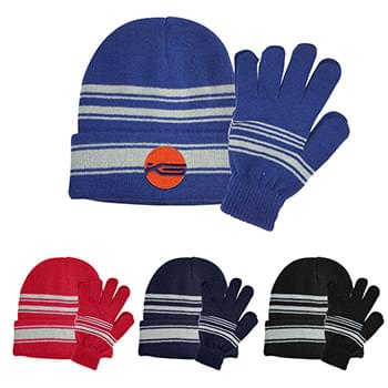 Cuff Beanie And Gloves Set