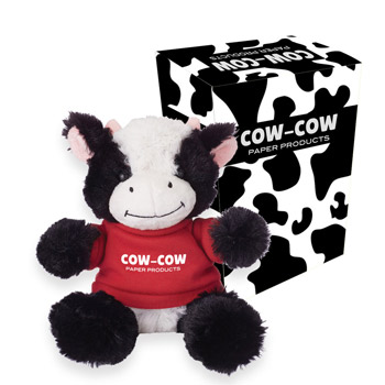 "6"" Cuddly Cow With Custom Box"