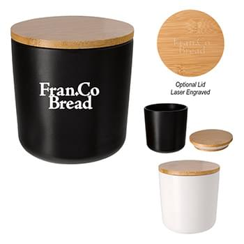 17 Oz. Ceramic Container With Bamboo Lid