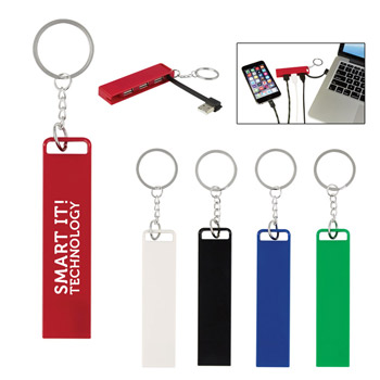3-Port Traveler USB Hub Key Chain