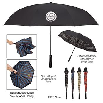 "48"" Arc Soho Tartan Inversion Umbrella"