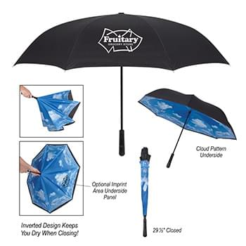 "48"" Arc Blue Skies Inversion Umbrella"