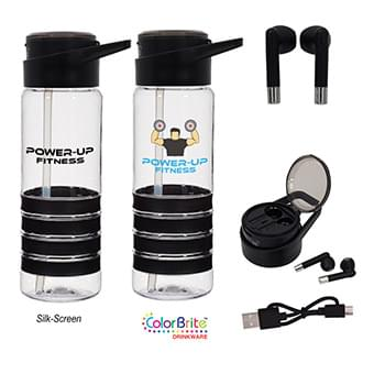 "24 Oz. Tritanâ""¢ Banded Gripper Bottle With Wireless Earbuds"