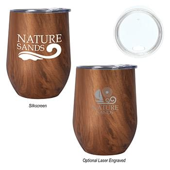 12 Oz. Woodgrain Alexander Stemless Wine Cup
