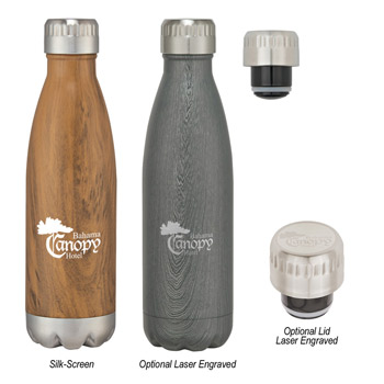 16 Oz. Stainless Steel Woodtone Vacuum Bottle
