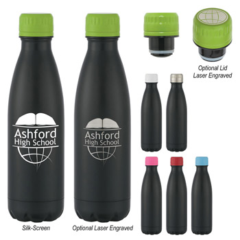 16 Oz. Matte Black Stainless Steel Vacuum Bottle