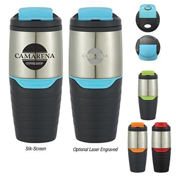 16 Oz. Stainless Steel Tumbler With Flip Lock Lid