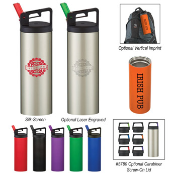 18 Oz. Rover Stainless Bottle With Carabiner Clip