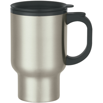 16 Oz. Stainless Steel Travel Mug With Sip-Thru Lid And Plastic Inner Liner