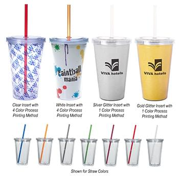 16 Oz. Double Wall Acrylic Tumbler With Insert