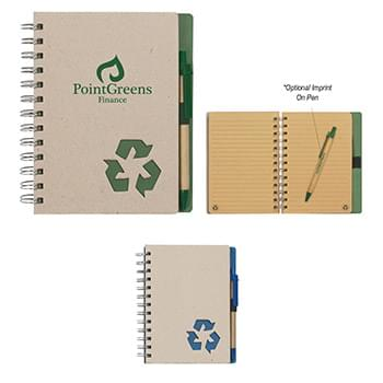 "Eco-Inspired 5"" X 7"" Spiral Notebook & Pen"