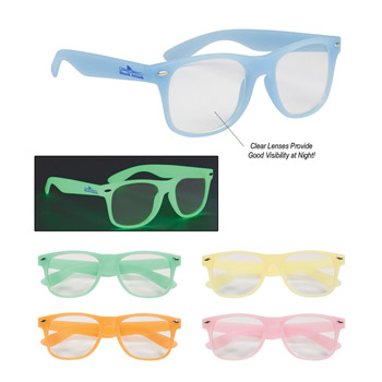 Glow-In-The-Dark Frame Glasses With Clear Lenses