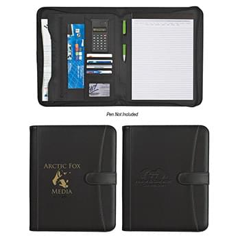 "Pebble Grain 8 ½"" x 11"" Zippered Portfolio With Calculator"