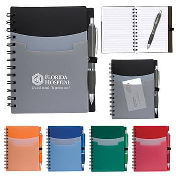 "5"" x 7"" Tri-Pocket Notebook & Satin Pen"