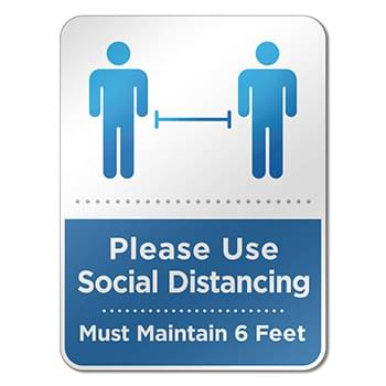 "6"" X 8"" Social Distancing Reminder Wall Sign"