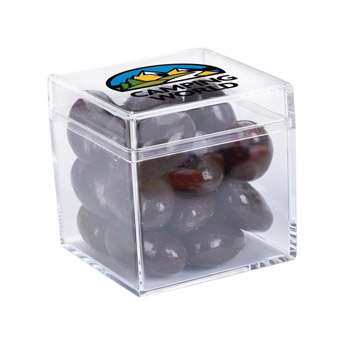 Cube Shaped Acrylic Container With Chocolate Almonds
