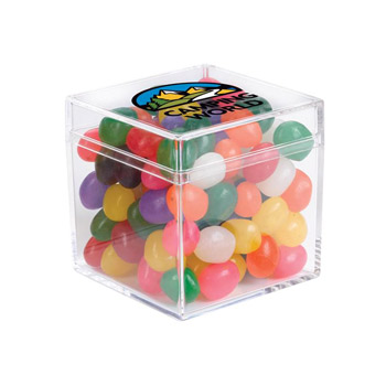 Cube Shaped Acrylic Container With Jelly Beans
