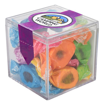 Cube Shaped Acrylic Container With Busta Bears