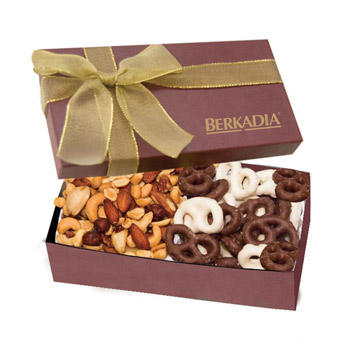 The Executive Gift Box - Chocolate Covered Pretzels & Mixed Nuts