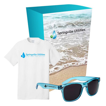 Port & Company® T-Shirt And Sunglasses Combo Set With Custom Box