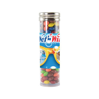 Gourmet Plastic Tube (Large) - Chocolate Littles, Sugar-Free Mints, Stars, Hearts, Colored Candy