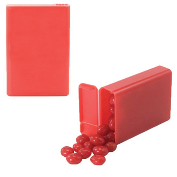 Flip Top Plastic Case with Red Hots, Jelly Beans, Gum
