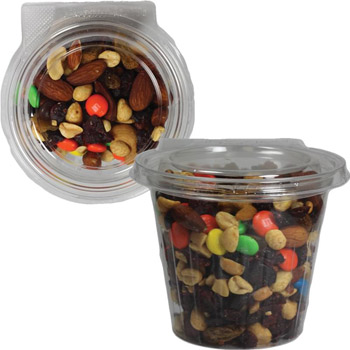 Safe-T-Fresh Round Container with Trail Mix, Granola, Hershey Kisses, Hershey Miniatures, Chocolate Pretzels