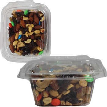 Safe-T-Fresh Square Container with SAFET-SQ Trail Mix, Granola, Hershey Kisses, Hershey Miniatures, Chocolate Pretzels