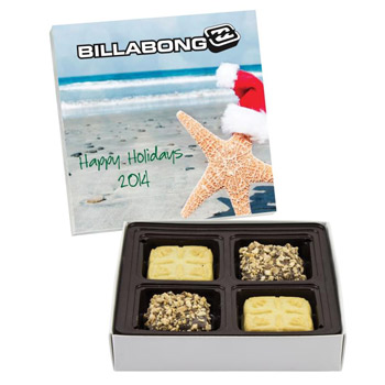 Square Custom Candy Box with Shortbread Cookies and Buttercrunch