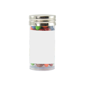 Gourmet Plastic Tube (Small) with Chocolate Littles, Sugar-Free Mints, Stars, Hearts, Colored Candy