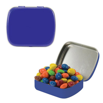 Small Tin with Chocolate Littles, Hearts, Sugar-Free Peppermints, Colored Candy, Stars