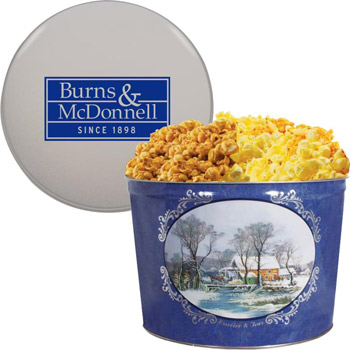 2 Gallon Popcorn Tins - Two Way - Butter and Cheese